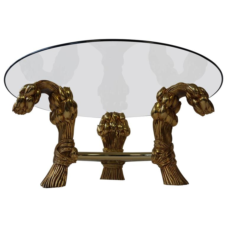 Round Glass Coffee Table in the Manner of Maison Jansen