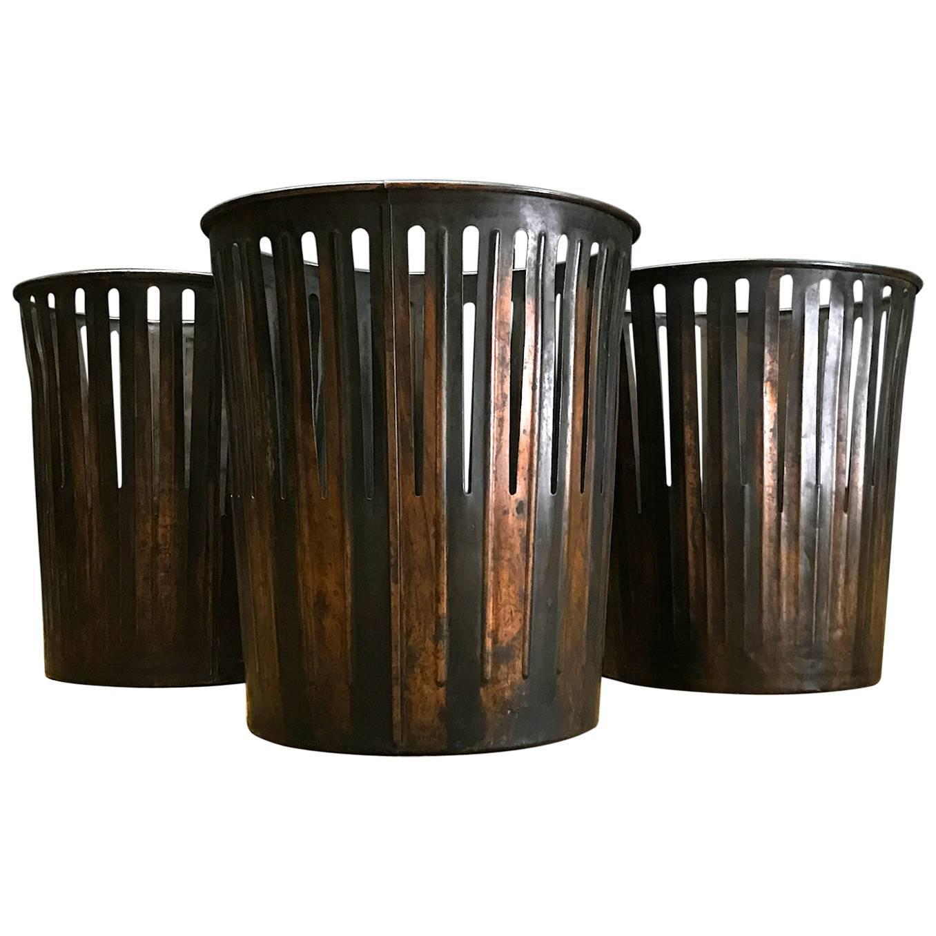 Japanned finished industrial copper office wastebaskets trash cans victorian era at 1stdibs