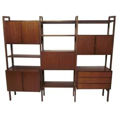 Danish Styled Walnut Free Standing Wall Unit with Desk