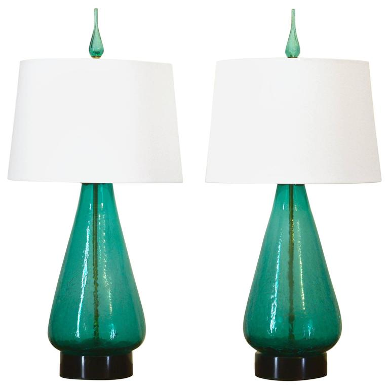 Pair of Original 1960s Blenko Lamps in Sea Green at 1stdibs
