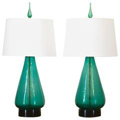 Pair of Original 1960s Blenko Lamps in Sea Green