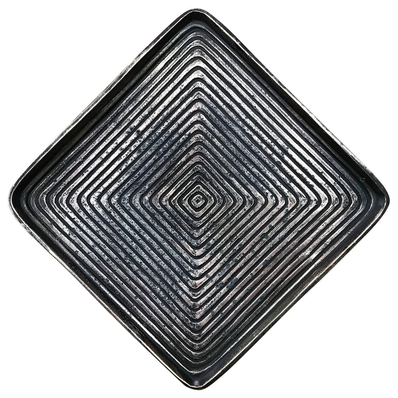 Ben Seibel for Jenfred Ware Concentric Geometric Brass Tone Plate Dish Ashtray