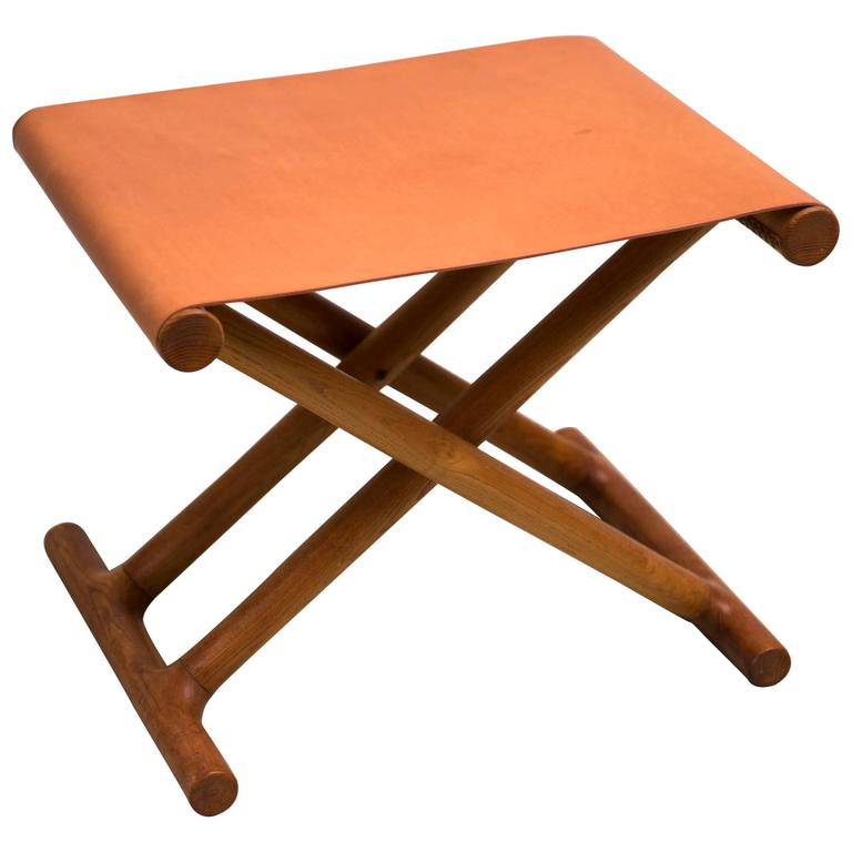 Mogens Lassen's, 1946 Egyptian Folding Stool in Ash and Natural Leather For Sale