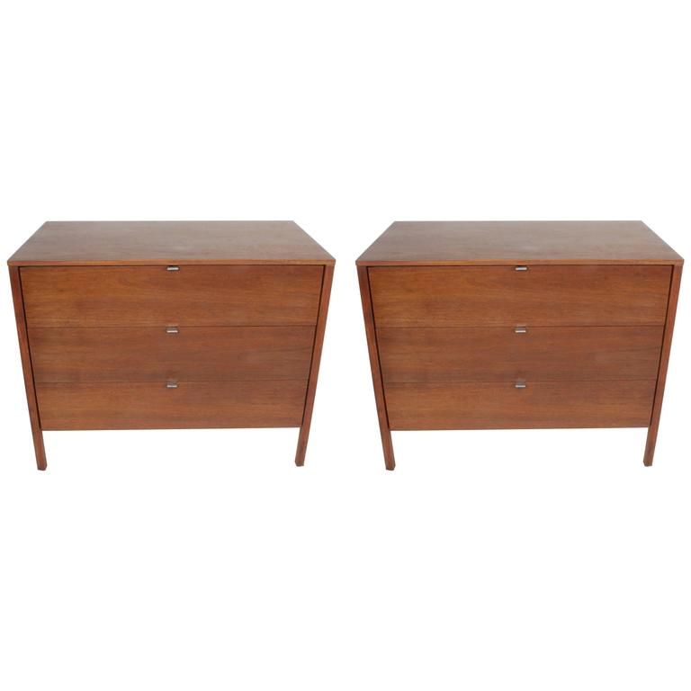 Pair of Early Florence Knoll Chests or Nightstands with Extra Vanity Drawer