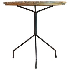 Mid-Century Arthur Umanoff Birch Slat and Iron Cafe Table