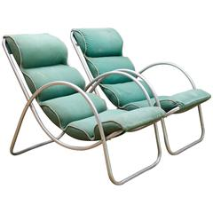 Machine Age Halliburton Neutra Lawn Lounge Chairs, Pair