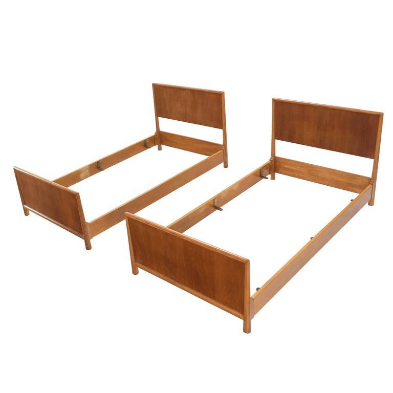 Pair of Walnut Gibbings Twin Beds