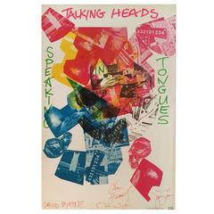 """Robert Rauschenberg Poster """"Speaking in Tongues, Talking Heads,"""" Signed 1983"""