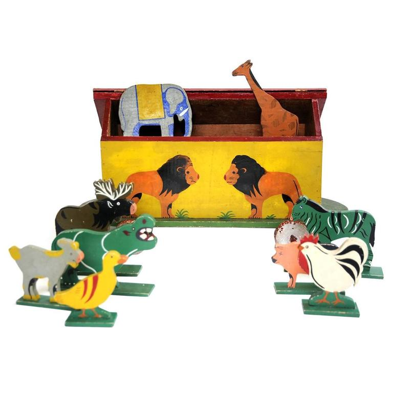 Folk Art Noahs Ark Hand Painted Wooden Toy With Animals 1920s 1930s