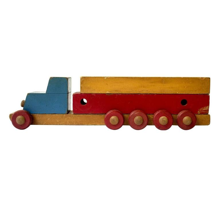 Folk Art Stack Truck in Hand Painted Wood, USA, Mid-20th Century