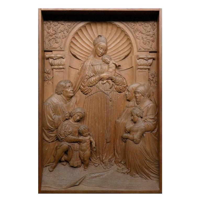 19th century Bas-Relief by Peter Nocker after Hans Holbein's Darmstadter Madonna