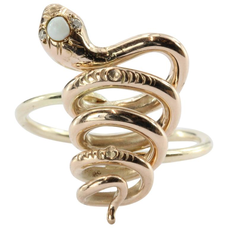 Victorian 10K Gold Curly Twisted Snake Opal Diamond Conversion Ring 1