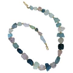 Rough  Graduated Aquamarine and Morganite gemstone Necklace