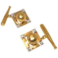 Yellow Gold Platinum Baseball Motif Cufflinks circa 1940s