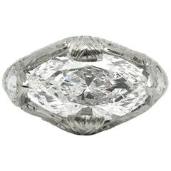 Art Deco Marquise Cut Diamond and Platinum Ring GIA