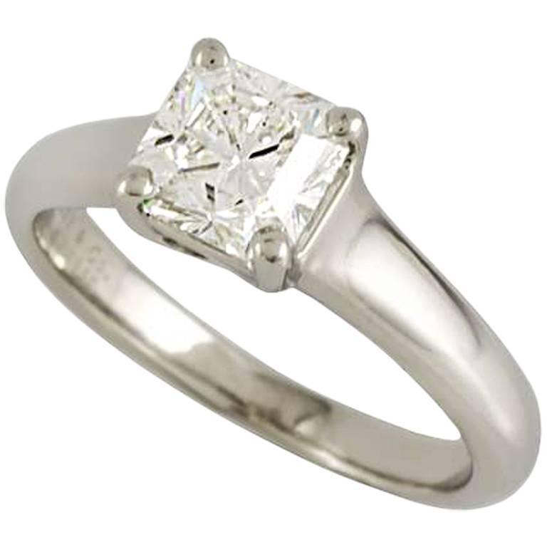 Tiffany and Co 1 00 Carat Lucida Cut Diamond Platinum Ring For Sale at 1stdibs