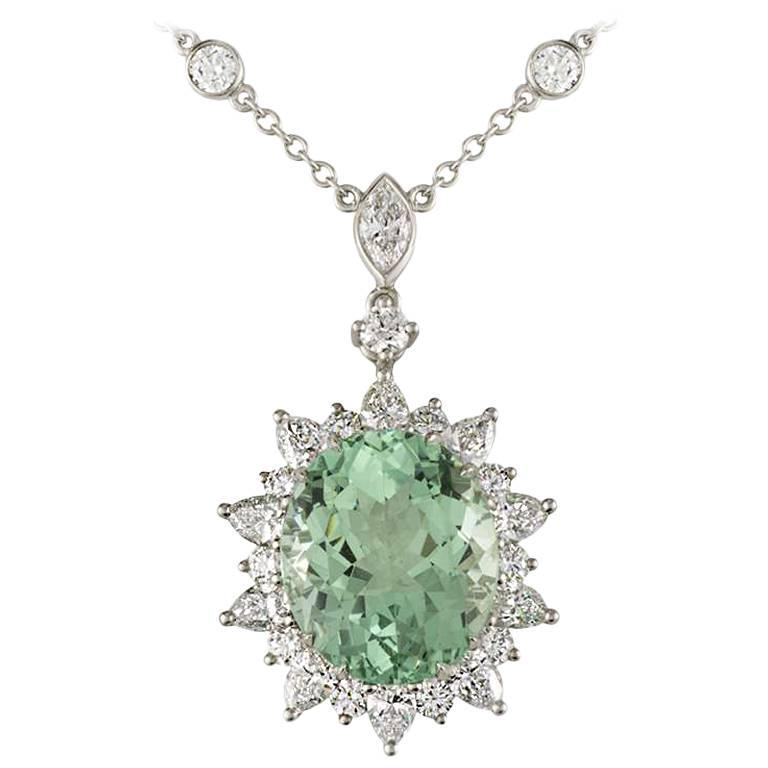 Tiffany & Co. Green Tourmaline Diamond Platinum Pendant 1