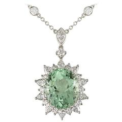 Tiffany & Co. Green Tourmaline Diamond Platinum Pendant
