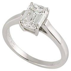 Tiffany & Co. 1.56 Carat Emerald Cut Diamond Platinum Ring