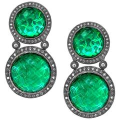 Alex Soldier Green Agate Quartz Doublet Topaz Oxidized Silver Earrings Ltd Ed