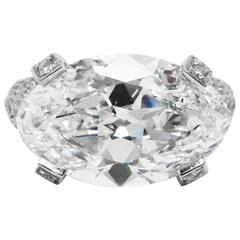 6.68 Carat Marquise Oval Cut Diamond and Platinum Ring GIA