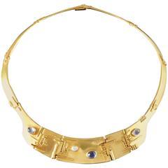 Fernand Demaret Unique Modernist Diamond Sapphire Gold Necklace