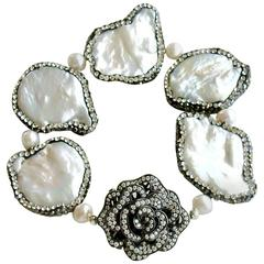 Pave Crystal Flower Clasp Baroque Pearl Bracelet