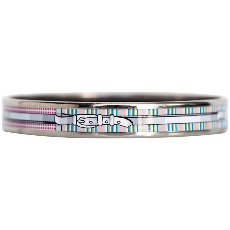 2000s Steel Belt Pattern Hermes Bangle