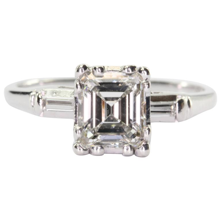 deco 1 carat emerald cut engagement ring for