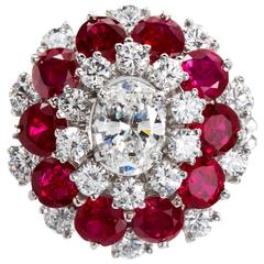 J. E. Caldwell & Co. Diamond Ruby Cluster Cocktail Ring