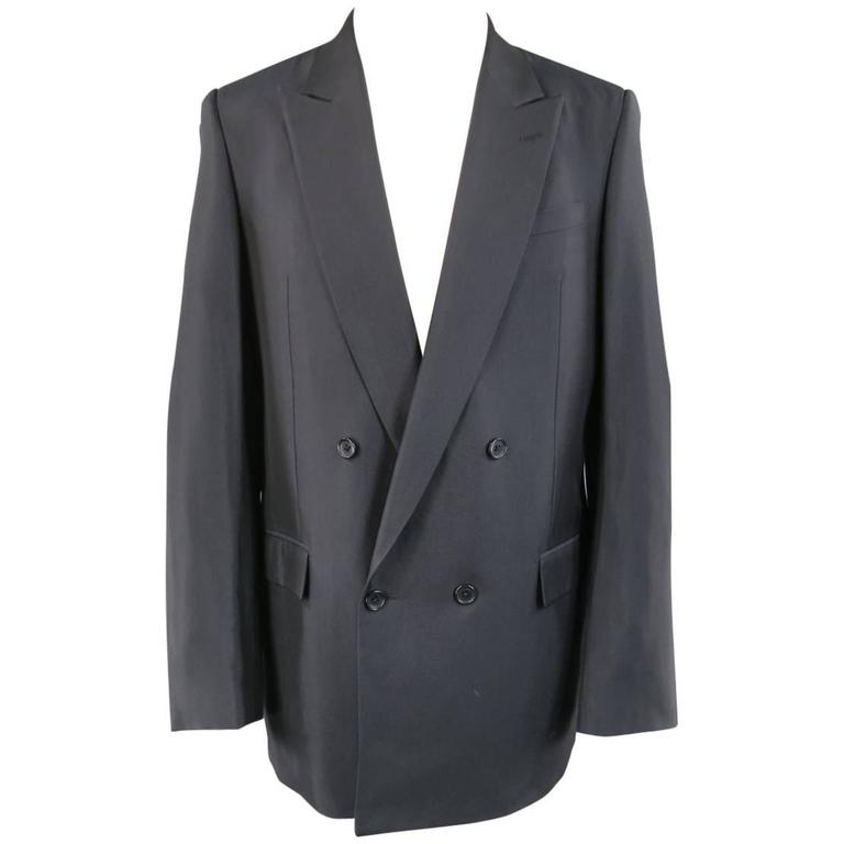 Men's BALENCIAGA 38 Regular Midnight Navy Double Breasted Peak Lapel Sport Coat For Sale