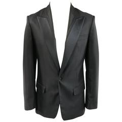 Men's VIKTOR & ROLF 36 Black Wool / Silk Stripe Peak Lapel Dinner Tuxedo Jacket