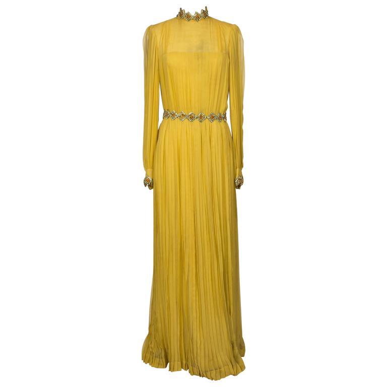 1970 Jean Patou fabulous Long Yellow Pleats Chiffon Dress 1