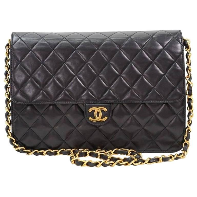 Chanel Vintage Black Lambskin 2 in 1 Envelope Clutch Flap Shoulder Bag in Box 1
