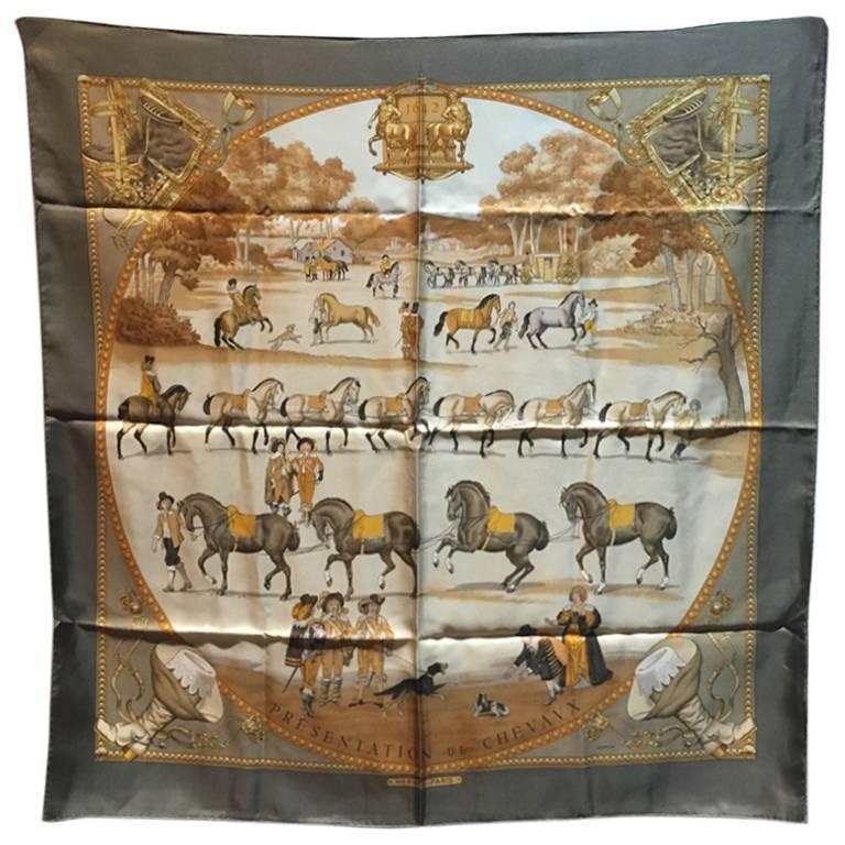 Hermes Vintage Presentation de Chevals Silk Scarf 1