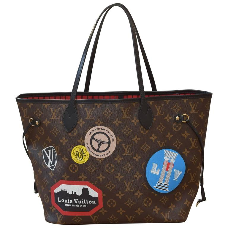limited edition louis vuitton neverfull mm in monogram world tour bag for sale at 1stdibs