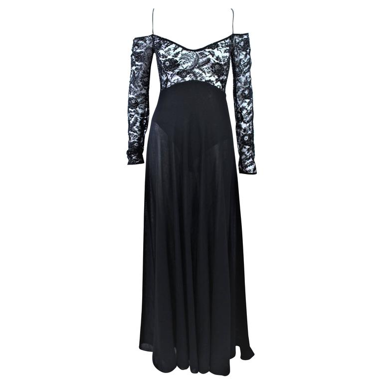 DONNA KARAN Black Lace Beaded Wool Gown Size 4 6