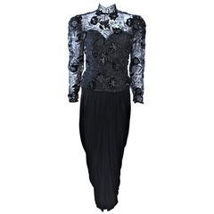 VICKY TIEL Black Lace Drape Gown with Sequin Applique Size 6