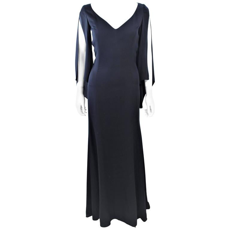 CAROLINA HERRERA Black Chiffon Drape Gown Size 4