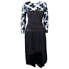 OSCAR DE LA RENTA Black Chiffon Lace High Low Cocktail Gown Size 12 14