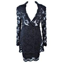 FETOUN Black Sequin Lace Skirt Suit Size 12