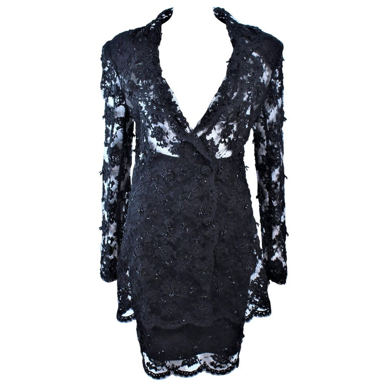 FETOUN Black Sequin Lace Skirt Suit Size 12 For Sale