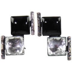 Jacques Gautier Paris Signed Black & Glitter Glass Clip on Earrings circa 1960s