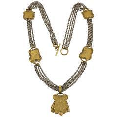 Zoe Coste Paris Bold Long Multi-Strand Necklace with Gilt Medallion