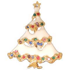 Vintage White Enamel Christmas Tree Pin