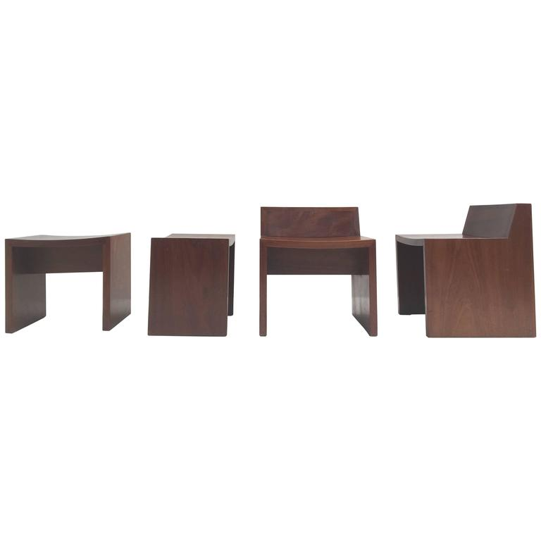 Unique Set of Solid Mahogany Church Seats by Dutch Architect Harry Nefkens, 1963 For Sale
