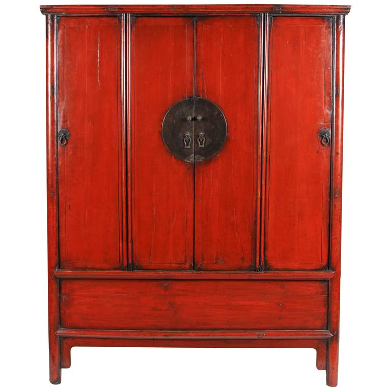 19th Century Four-Door Red lacquer Chinese Scholar's Cabinet