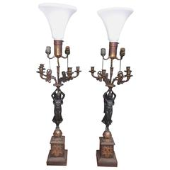 Pair of French Gilt Bronze Angelic Figural Candelabras, Circa 1820