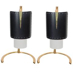 Pair of Italian Blackened Steel and Gold Plate Table Lamps, Italy, circa 1950