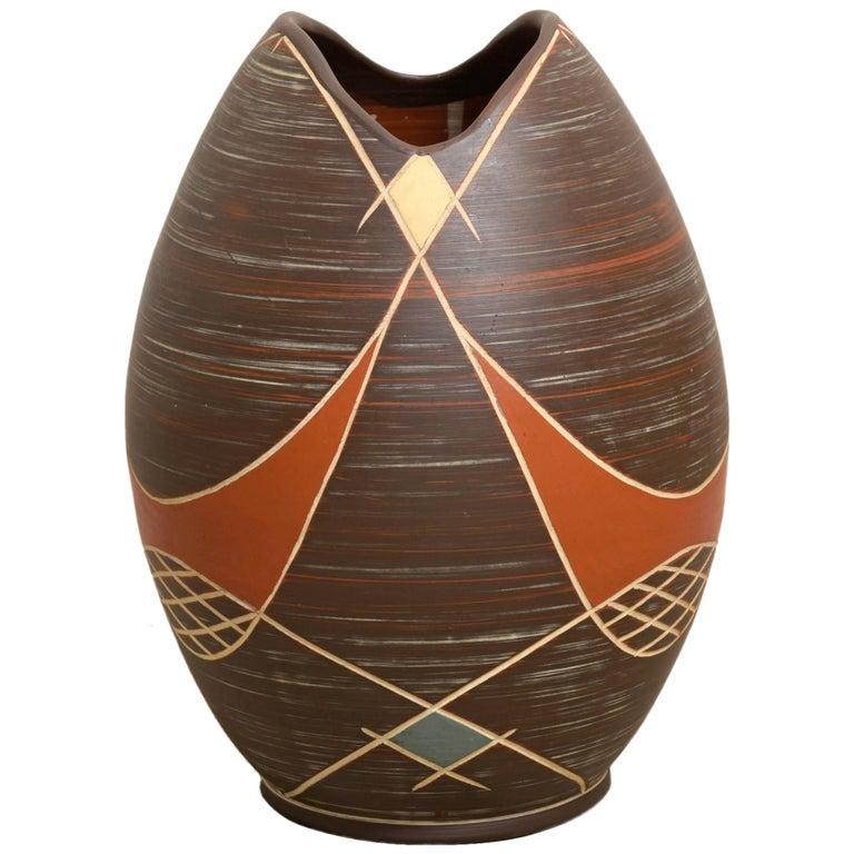 Large Brown Ilkra Ceramic, 1950s Sgraffito Vase,Germany For Sale